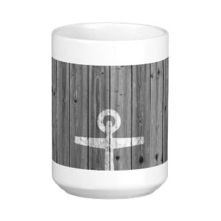 Hipster white mustache anchor on retro gray wood coffee mugs