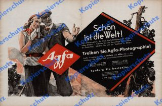 orig Reklame Agfa Kamera Photographie AGFA BOX BILLY Jugend Art Deco