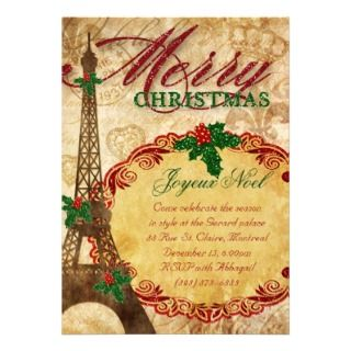 Christmas Paris Invite Eiffel Tower Vintage