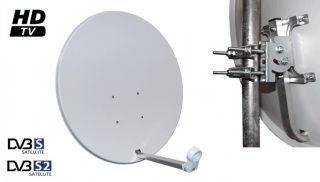 Sat Anlage 80 cm Spiegel + 2 Receiver+ Twin LNB+ 25m Kabel + 4 F