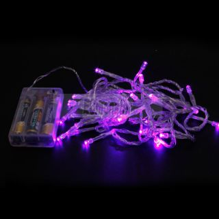 New Romantic Bright Lights 30 LED Battery Outdoor String Light Purple