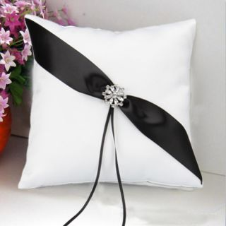 New Elegant Wedding Ring Pillow Black Stripe White Satin