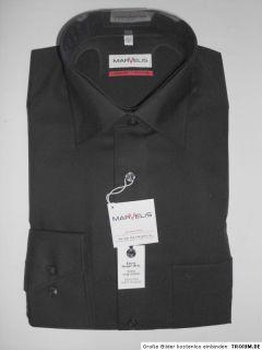 MARVELiS Hemd extra lange Ärmel schwarz bügelfrei