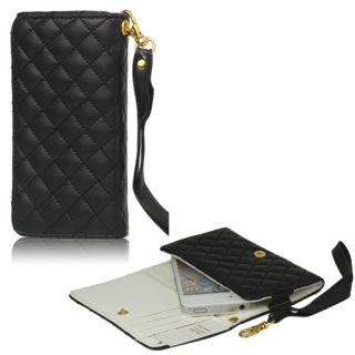 Portemonnaie Leder Tasche Hülle Wallet Case Schwarz 473