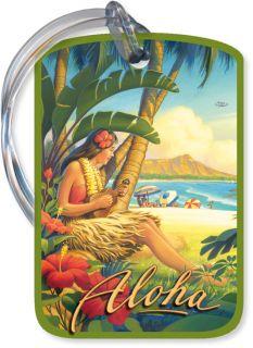 Vintage Travel HAWAIIAN LUGGAGE TAG Hula Girl HAWAII