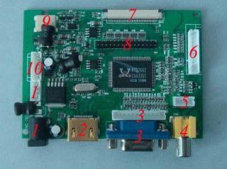 /VGA/2AV+Reversing Driver board + 7inch AT070TN90 800*480 lcd display