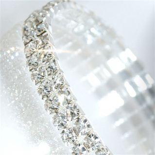 A471 Neu Luxus Damen Stretch Silber Strass Armband Hochzeit Braut