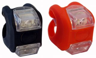 LED Fahrradleuchte Rot / Schwarz Fahrradlicht Fahrrad set Silikon