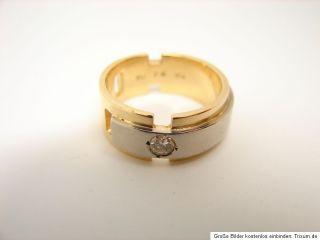 Bicolor Brillant Ring 750 Gold 18 kt Gold Schmuck Weißgold Gelbgold