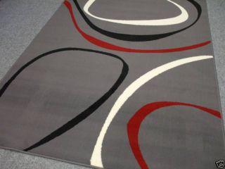 Designer Teppich Grau,Rot Läufer Brücke Neu