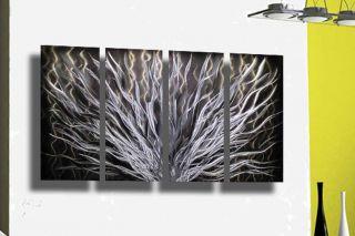 NEU METAL&ART DESIGN Metall Bild Abstrakt Modern Kunst Schwarz Silber