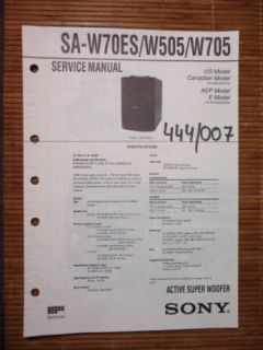 Service Manual Sony SA W70ES/W505/W705 Woofer,ORIGINAL