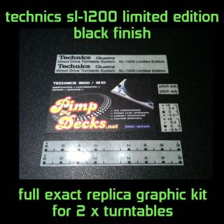 TECHNICS SL 1200 LIMITED EDITION   REPLICA GRAPHIC KIT BLACK   CUSTOM