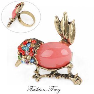 Fingerring Ring Vogel Strass lachs bunt verstellbar gold boho süß
