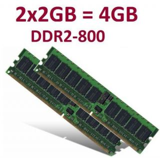 Dual Channel Kit 2 x 2 GB 4GB 240 pin DDR2 800 DIMM (800Mhz, PC2