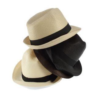 New Fashion Unisex Fedora Trilby Gangster Cap Summer Beach Sun Straw