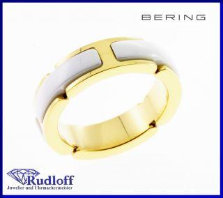 Schmuck Edelstahl Ceramic Ring Fingerring 502 25  weiß gold