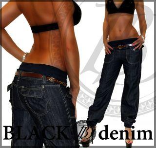 j58) Damen Aladin Harem Pump Jeans Hose Blau Mit Gürtel 36 S   44