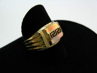R533 585er 14kt Gelbgold Ring mit griechischem Muster auf Weißgold