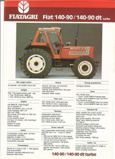 Farm Tractor Brochure   Fiatagri   Fiat   140 90 dt turbo (FB533