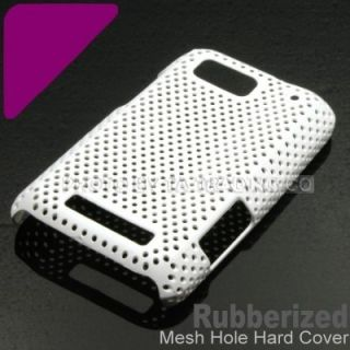 White Mesh Hole Rubberized Hard Net Case Cover For Motorola Defy MB525