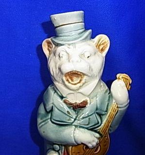 Vintage German Porcelain Cat Figurine Bottle Playing Guitar #CG