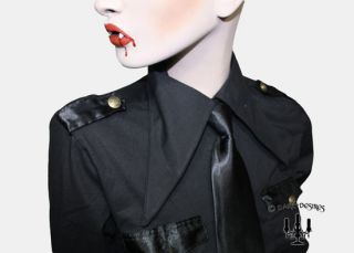 Gothic strenges gouvernante military Hemd Bluse in schwarz mit