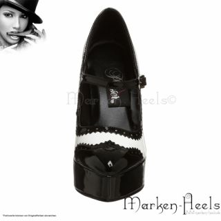 PLEASER   SEXY MARY JANE PLATEAU PUMPS, SCHWARZ/WEISS LACK, GR. 36