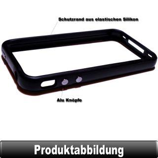 BUMPER Schwarz Case Schutz Hülle Cover Tasche Silikon TPU Alu für