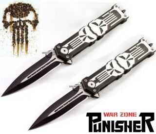 TWO 8.25 PUNISHER STILETTO SPRING ASSISTED KNIFE Folding Blade Pocket