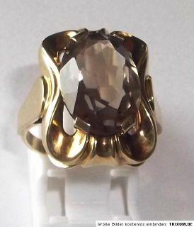 antik Handarbeit Ring 333 Gold 5,5 g gr. Rauchtopaz Rauchquarz Gr.59