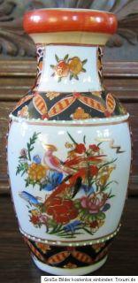 kleine Vase China chinesische Motive Blüten und Vögel 17 cm hoch
