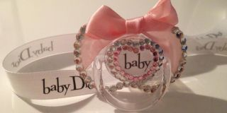 AVENT STRASS Pacifier Crystal Bling SCHNULLER+BAND super süß