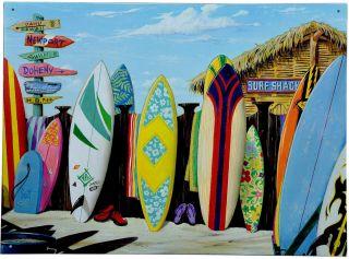 Surf Tiki Hawaii Surfschule Vintage Schild Plakat *582