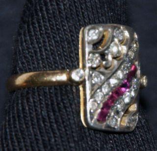 kleiner originaler Art Deco Ring 585 Gold Silber Rubine Diamanten