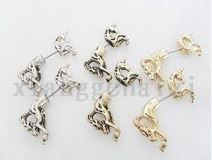 New Hot 1 Pair Cool Rock Punk Cute Unicorn Horse Ear Stud Earrings S57