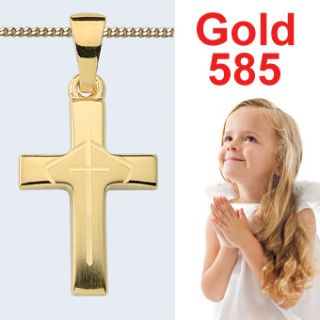 ECHT GOLD 585 14 Kt KINDER Kommunion Konfirmation KREUZ ANHANGER AMD