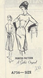 1950s Vintage Sewing Pattern DRESS B31 (R578) A Gothe Original