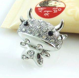 Gk4509 New Fashion Jewelry Womens Crystal Silver Calf Ring Size7 9