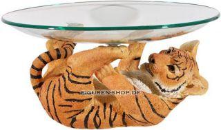 Tigerbaby mit Glasschale   Tiger Figur Statue Obstschale