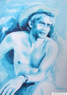 Original Zeichnung Aquarell Bild Drawing Filmstar James Dean DIN A3