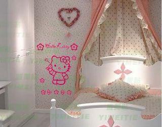 Neu Hello Kitty Mit Blümchen und Mieze Wandtattoo Aufkleber D1056