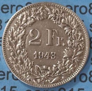Schweiz Switzerland 2 Fr. 1943 Silber SILVER COIN (604