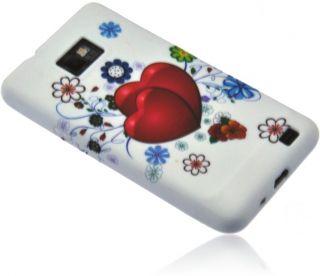 Silikon Case Handy Tasche Pink Heart f. Samsung Galaxy S2 i9100