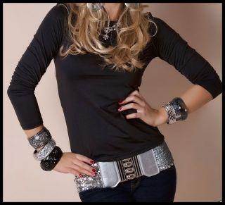 Gothic klassik Damen T Shirt schwarz Stretch Pullover 34 36 38 40 Neu