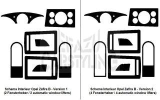 Dekor Blenden Interieur Opel Zafira B II SET Carbon, Alu,