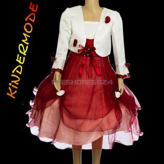 2tlg. Mädchen Fest Kleid Gr. 98 104 Kommunion Bolero Taufe Hochzeit