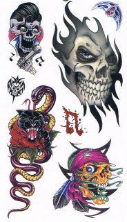 TATTOO Heft Aufkleber 5 Bogen Tattoos Skull Totenkopf 2