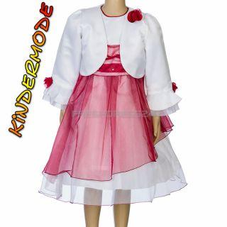 2tlg. Mädchen Fest Kleid Kommunionskleid Bolero Taufe Hochzeit Kinder