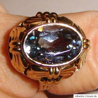 antik Ring 333 Gold gr. Blautopas o.Aquamarin tolle Fassung 3,6 g Gr